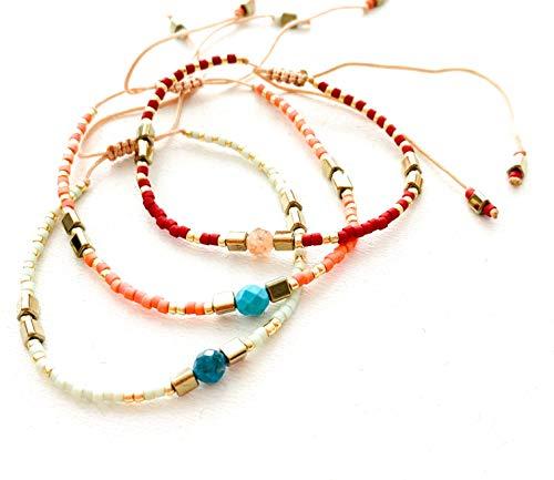 Wish Bracelets Set of 3 | Natural Boho Miyuki Beaded & Vintage Stone Jewellery | Friendship Bracelets | Bohemian Adjustable Bangles 2021 (Redwine-Tangerine-Honeydew)