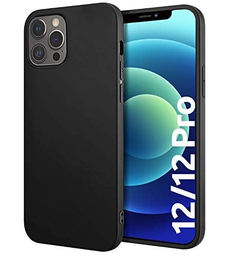 Schutzhülle Slim-Hülle kompatibel mit iPhone 12 und 12 Pro [Matt-Schwarz] - Handyhülle aus Silikon - Premium Soft TPU Cover - Schützt vor Kratzer/Stößen - Schutz-Hülle hinten - Präzise Ausschnitte