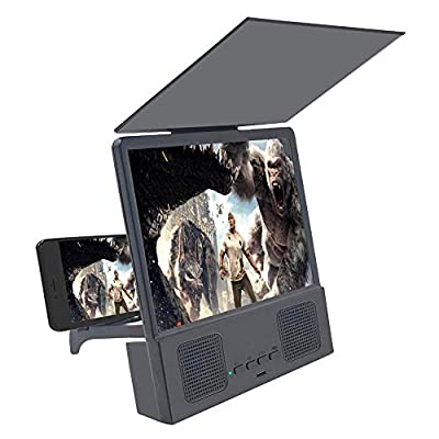8 inches Screen Magnifier 3D Smart Mobile Phone Movies Amplifier with Foldable Holder Stand, HD Portable Phone Projector with Bluetooth Speaker for iPhone accessorie and All Smart Phone (Black) by Jushi