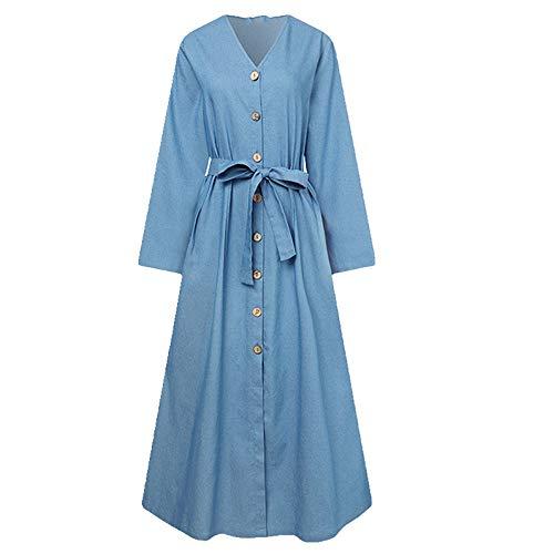 Primavera Otoño Elegante Mezclilla Vestido Midi con Cinturón Sólido Cuello en V Femenino Mangas Completas de Bolsillo Túnica de Gran Tamaño
