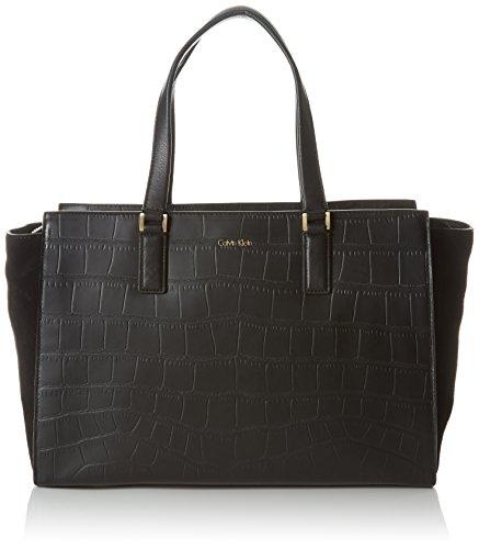 Calvin Klein Jeans dames SHARI CROC grote TOTE Tas, zwart 001), 18x24x49 cm (B x H x T)