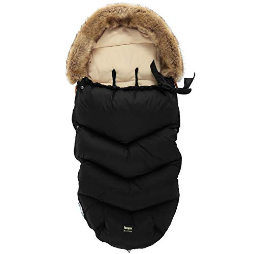 ZOPA Luxus Winter Fusak FLUFFY mit Fell - universell Fußsack fussack für Kinderwagen Buggy (Night Black)