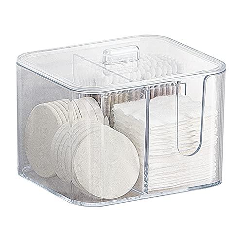 綿棒ケース コットンケース 棉棒ボックス コットン入れ 綿棒入れ コスメケース 小物収納 アクリル製 蓋付き おしゃれ 北欧風 防塵 透明 卓上収納 (コットン+綿棒収納) サイズ:13*11*10.2cm