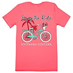 Southern Couture Classic Enjoy the Ride Womens Inspirational T-Shirt - Coral Silk