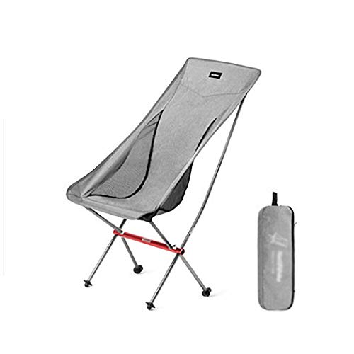 ZHILIAN& Ultralight Aluminium Klappstuhl Tragbarer Campingstuhl Im Freien Mit Mond (Farbe : Gray)
