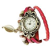 Zeroup ブレスレットリーフペンダント ウォッチ アンティーク風 レザー ブレスレット リーフ 本革 ベルト クォーツ腕時計