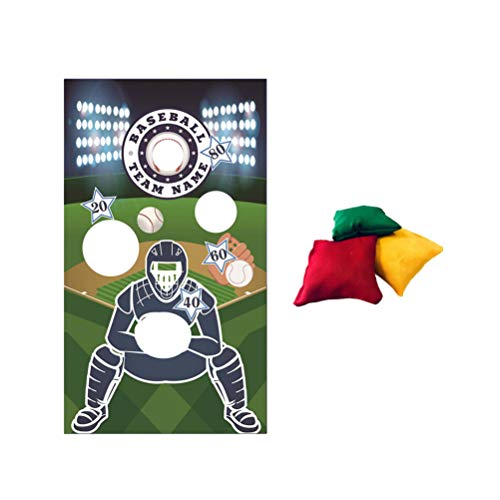 TOYANDONA Baseball Toss Games with 3 Bean Bags Throwing Banners Indoor Outdoor Bean Bag Toss Game Sport Theme Party Decorations Supplies Style C