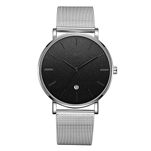 GJHBFUK Reloj Moda Dial Redondo Analógico Reloj De Pulsera De Cuarzo (cinturón De Plata Caja De Plata Espejo Negro Aguja Negra)