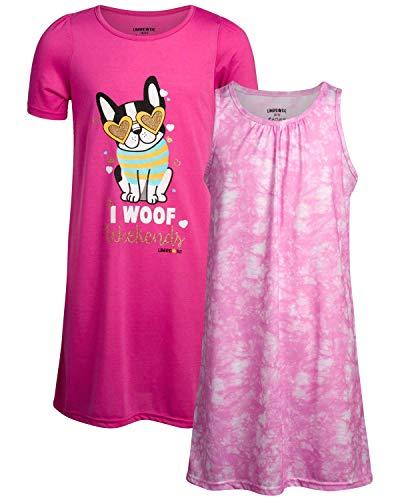 Limited Too Girls' Pajamas - 2 Pack Sleep Shirt Nightgown (Size: 7-16), Pink Tie Dye-Bulldog, Size 14-16