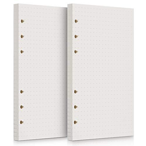 OMEYA 320 Seiten 2 Pack Nachfüllpapier Einlagen Papier 6 Loch 160 Blatt Binder gelocht Papier für Tagebuch Notizbuch Journals Malerei Filofax Personal Organizer 10,5 x 17 cm-gepunktetes Papier