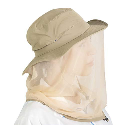 Hunterbee Khaki Beekeeper bee Beekeeping hat/Mosquito Insect hat/Mesh Bug face Shields Mask