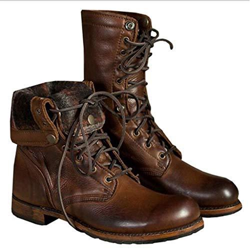 WangQiLing Mens Weinlese-Motorrad Martin Stiefel Punk Gothic Ankle Boots Brown Retro Knight Boots-runde Zehe schnüren Sich Oben Nieten Reitstiefel,Braun,44