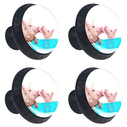 Divertido cerdo colgante en una valla, paquete de 4 pomos y tiradores de armario redondos, manijas de muebles y tiradores para armarios de cocina y baño, aparador, cajones, persianas