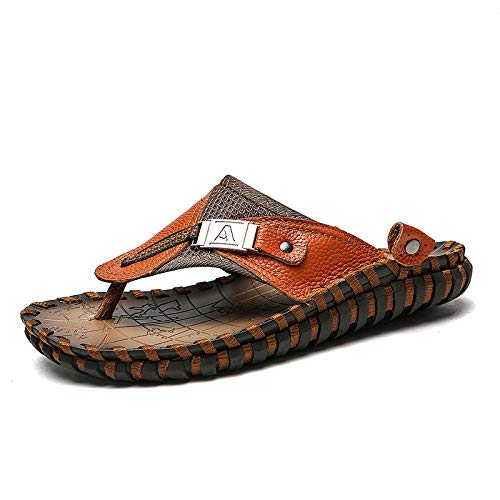B/N Girls flip Flops,Breathable Casual Shoes New top Layer Leather Sandals and Slippers Men Summer Beach Shoes Men Cross-Border Large Size Breathable Men-Brown_38