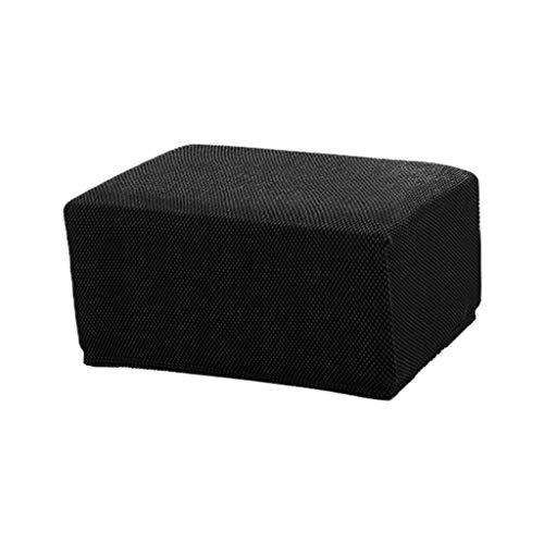 joyMerit Hockerbezug Quadratische Stuhlhusse Stuhlbezug Stretch Husse für Sitzhocker, Fußhocker, Ottomane, Hocker - Schwarz