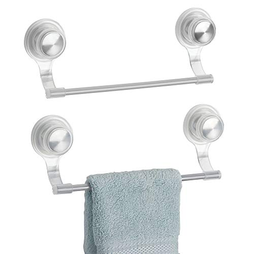 mDesign Strong Suction Wall Mount Plastic/Metal Wash Cloth Hand Towel Bar for Bathroom, Shower Stall, Bathtub - 2 Pack, Clear/Stainless Steel
