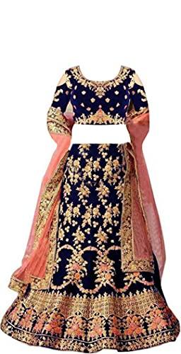 New Fashion Adda Girl's Raw Silk Semi stitched Lehenga Choli (MMW_Kids_9-13_Blue_Free Size)