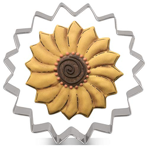 KENIAO - Cortador de galletas de girasol, 3,8 x 3,8 cm, acero inoxidable