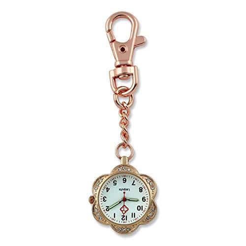 Cxypeng Uhren,Krankenschwester FOB,Blumenlegierung leuchtende Krankenschwestertisch, Quarz hängende Uhr Medizinstudent Taschenuhr-Rose Gold,Pulsuhr Krankenschwester
