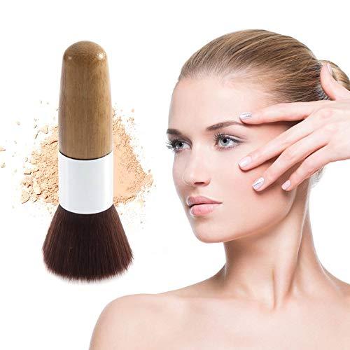 Flat Top Brush - Professional Soft Flat Top Buffer Foundation Powder Brush Cosmetic Salon Brush Makeup Basic Brush Facial Makeup Tool - Wood Color