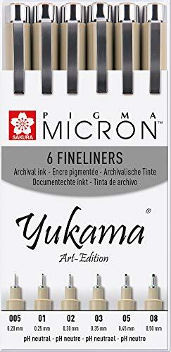 Yukama Sakura Pigma Art-Edition Set, 6 Pigma Micron Fineliner, Sortiert, Schwarz