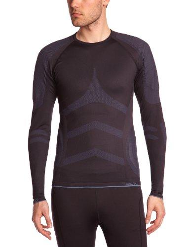 Odlo Herren Unterhemd Shirt Long Sleeve Crew Neck Evolution X-Warm, Black - Fiery red, L, 180962