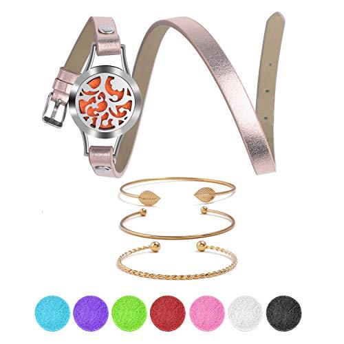Bracciale per aromaterapia,Wisolt Albero della Vita in aromaterapia diffusore di oli essenziali braccialetto con 8 colori lavabili e riutilizzabili feltrini per donne