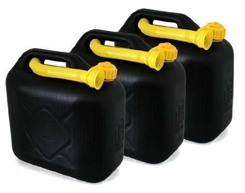 AD Tuning Kunststoff Kanister, 3er Set, Volumen: je 10 Liter (Lieferung ohne Inhalt) Inkl. Ausgieser - Schnorchel.