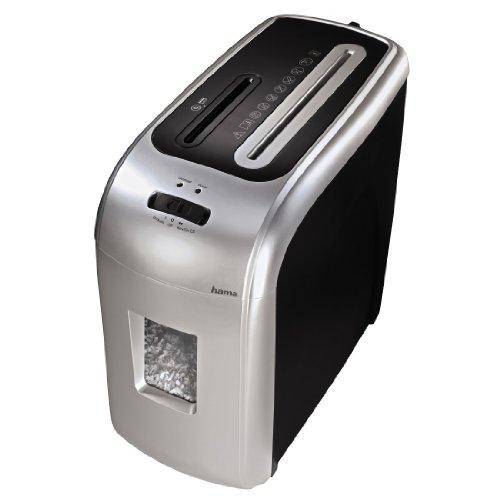 Hama Aktenvernichter 7-8 Blatt (Mikro-Partikelschnitt, Shredder für Papier, Kreditkarten, CD/DVD/Blu-ray, Papier-Schredder Schutzklasse P-5/ Sicherheitsstufe 4 nach DIN 66399), schwarz-silber