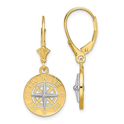 14k Yellow Gold with Rhodium Plated Mini Nautical Compass Leverback Earrings