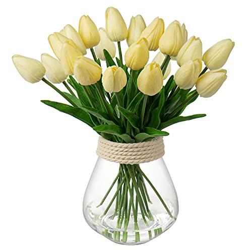 10 tulipani artificiali in vero tatto, tulipani falsi, fiori di tulipani artificiali, bouquet da sposa, decorazione per casa, giardino, stanza (giallo chiaro)