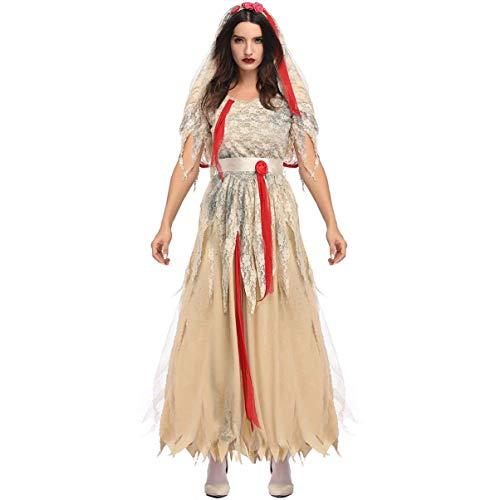WLP-WF Viktorianische Frauen Brautkleid Kostüm Gotisches Hexenkleid Mittelalterliches Hochzeitskleid Halloween Cosplay Zubehör Größe M,Khaki L,70 X 40 cm