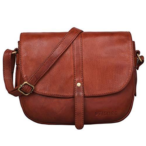 STILORD 'Kira' Umhängetasche Frauen Leder Vintage kleine Handtasche zum Ausgehen Klassische Abendtasche Partytasche Freizeittasche Echtleder, Farbe:Cognac - Used