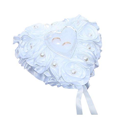 pu ran Fashion Flower Heart Ring Aufbewahrung Fall Ohrringe Faux Pearl Displayschutzfolie Hochzeit Box Weiß