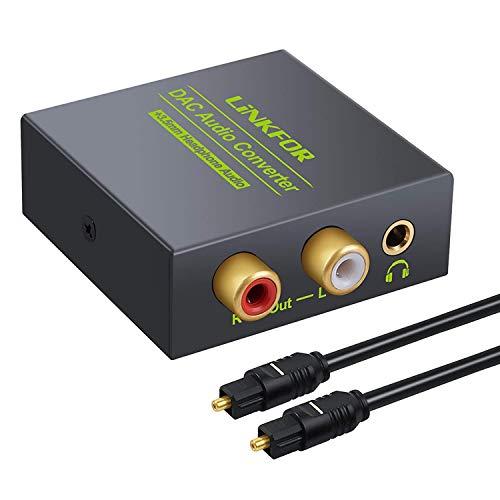 DA Wandler, Optischer Toslink Koaxial auf Analog RCA L/R Audio Adapter-LiNKFOR mit 3,5 mm Klinkenausgang und optischem Kabel für PS3 DVD Sky Xbox HDTV Blu-Ray-Player 360 TV Box