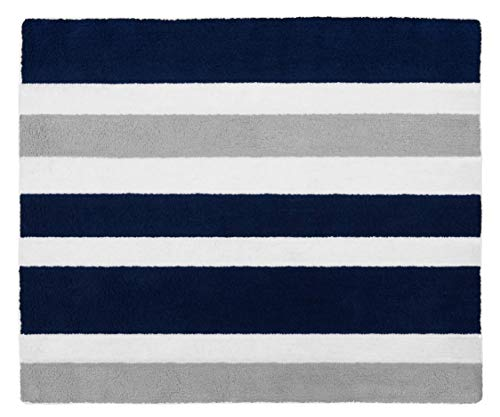 Modern Navy and Gray Accent Floor Rug for Stripe Kids Teen Bedding Collection