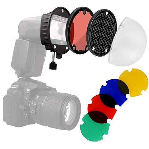 Minadax Universal Blitz Diffusor Portrait Lichtformer-Set Softbox mit Farbfilter für Aufsteckblitze | Magnetisch stapelbar + Halterung | Kompatibel für Canon Nikon Sony Speedlite Yongnuo Godox usw.