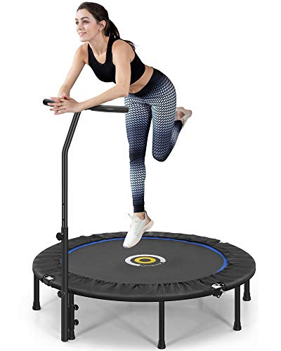 CAMBIVO 50-Inch Mini Trampoline for Adults, Small Exercise Rebounder with Adjustable Foam Handle, Foldable Fitness Trampoline for Indoor Outdoor Garden Workout Max Load 330lbs