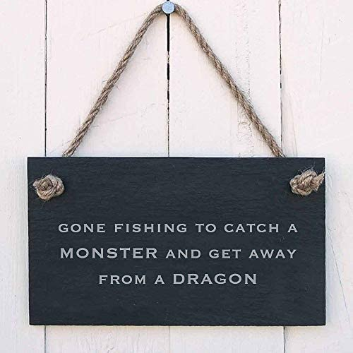 DKISEE Gone Fishing to Catch A Monster and Get Away from A Dragon Wood Sign Door Sign Novelty product image