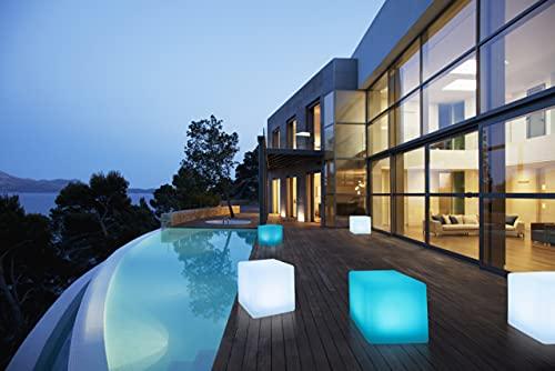 Bonetti Cube lumineux solaire à LED IP67 / RVB 8 couleurs changeantes Lampe décorative de jardin Env. 30 x 30 cm
