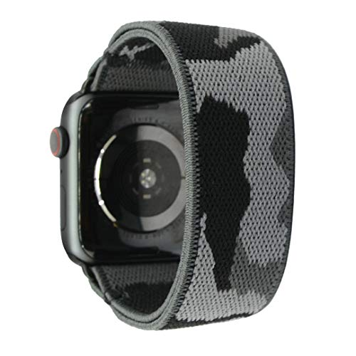Nomchi Double Layer Stretch Elastic Compatible/Replacement Band for Apple Watch 38mm 40mm 42mm 44mm (Black Adapter for 38mm/40mm Camouflage, Wrist Size: 5.5-5.9 inch (S))