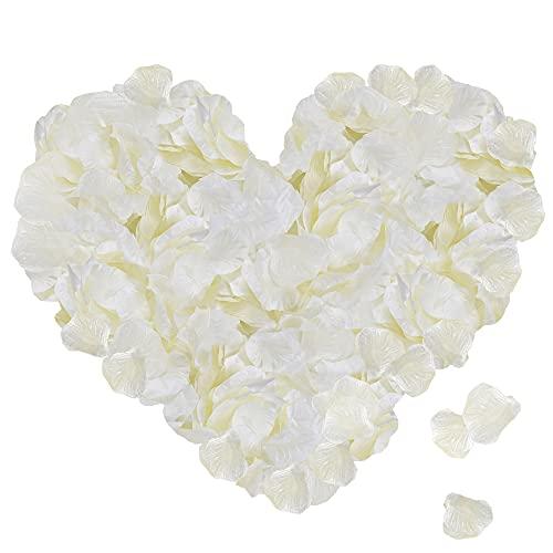 ASANMU 3000 Pezzi Petali di Rosa, Petali di Fiori Finti, Petali di Rose Bianco Decorazioni per Matrimonio San Valentine e Fidanzamento, Proposta di Matrimonio, Festa della Mamma, Natale (Bianco Latte)