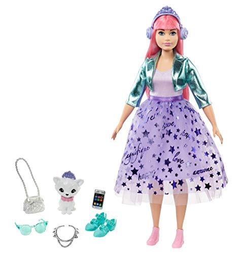 Barbie- Muñeca Daisy de Princess Adventure Vestida de Princesa (30cm) con Mascota, para niñas de 3 a 7 años (Mattel GML77)