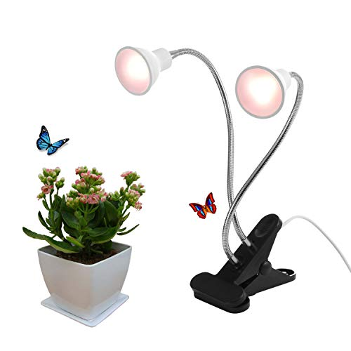 Dommia LED Grow Light for Potted Plants, Dual Head Desk Clamp Lamp with Swivel 360 Degree Flexible Gooseneck and One Switch, Warmwhite Comfortable Light Growing Lamp for Home and Office Indoor Plants