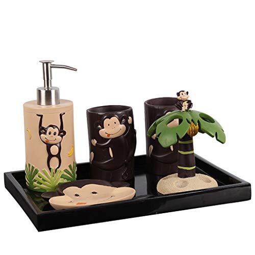 dispensador de jabón Creativa de baño de lavado de cinco piezas Traje de baño cepillo de dientes titular de cepillo de la Copa Conjunto de la taza de baño dispensador de jabón líquido Dispensador de j