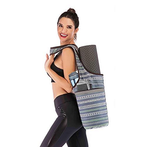 Jarome Bolsa de Esterilla de Yoga Mochila Casual de Lona de Yoga con Bolsillo de Cremallera de Gran tamaño Se Adapta a la mayoría de Accesorios de Yoga Bolsas de Yoga y Soportes para Mujeres Comfy