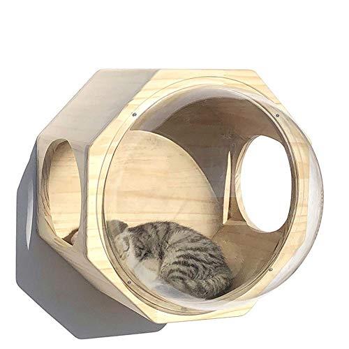 SHIJINHAO-Arbre à chat Multifonction Mural Échelle Bois Massif Combinaison Aléatoire Condo Plateforme De Saut Capsule Spatiale, 14 Styles (Color : Beige, Size : 43x43cm)