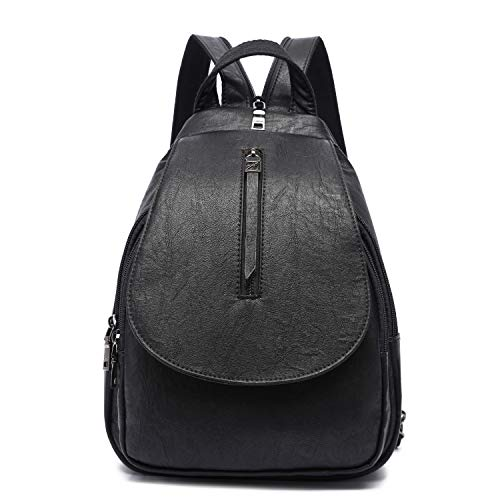 Small Backpack Purse for Women, Backpack Handbags Lightweight PU Nylon Sling Purse with Convertible Shoulder Strap (Black-Flap)