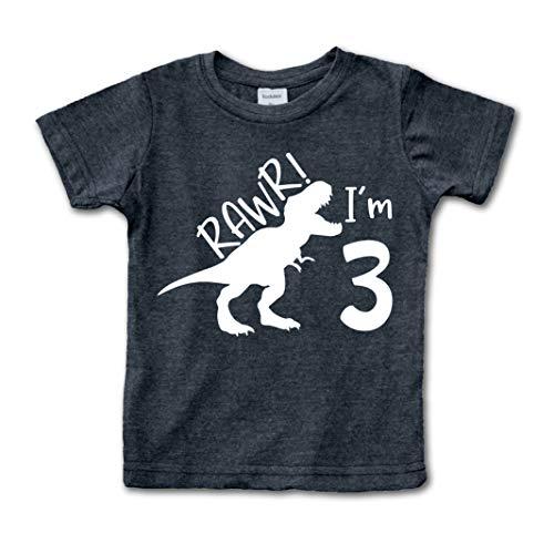 rawr im 3 Dinosaur 3rd Birthday Shirt boy Roar Three Year Old Dino Tshirt rex (Charcoal Black, 3 Years)
