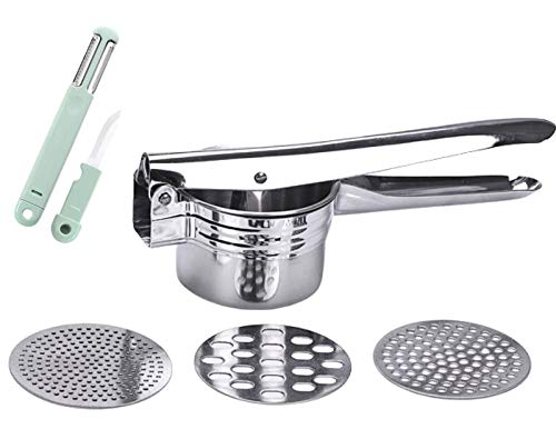 Menurto Potato Ricer with 3 Function Knife Stainless Steel Potato Masher with 3 İnterchangeable Discs Gnocchi Maker Spaetzle Press Easy to Use Hand Press for Baby Food Cauliflower Potatoes